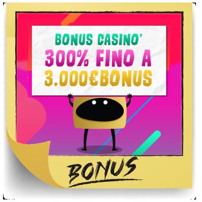 bonus benvenuto casino 300% fino 3.000€
