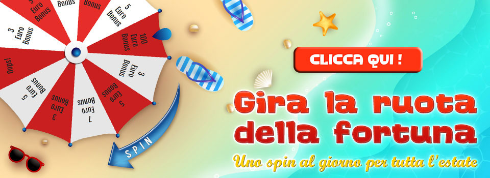 Gira la ruota estate 2019 uno spin al giorno euro bonus casinò e slot online best in game