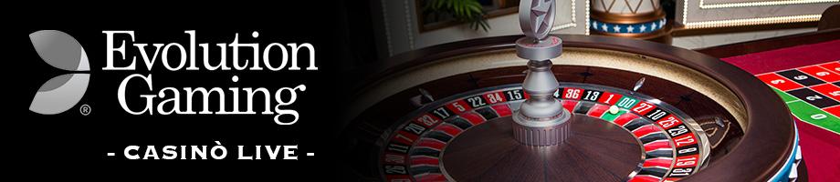 Casinò LIVE Evolution Gaming gioca roulette blackjack baccarat giochi casino live su BIG